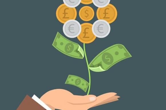 A árvore de dinheiro representa o aumento dos lucros através de um investimento em ERP.