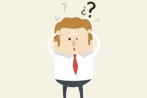 Ilustração de homem de negócios com interrogações, representando as possíveis dúvídas sobre o rollout do Microsoft Dynamics AX.