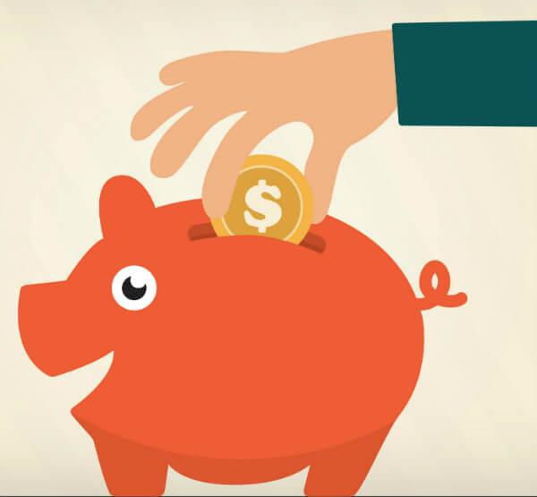 Ilustração de mão colocando dinheiro em cofre em formato de porco, representando a importância do cálculo de TCO, ROI e economia para o Microsoft Dynamics AX.
