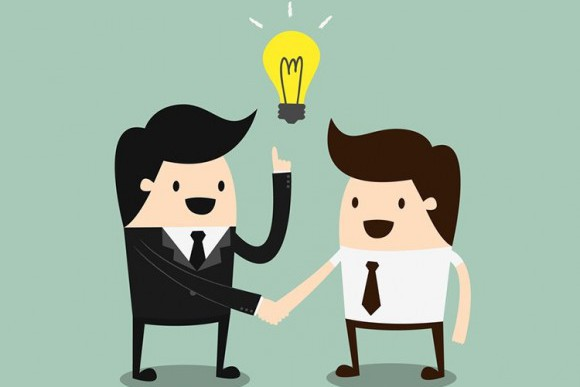 Illustration of two professionals shaking hands and a lightbulb over their heads. It represents the moment a company identifies the ideal moment to adopt a CRM.