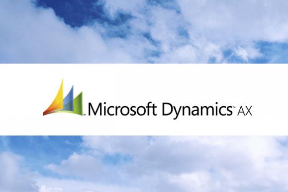 Logotipo Microsoft Dynamics AX com uma imagem de um ceú azul com nuvens ao fundo, referindo-se ao novo Dynamics AX na nuvem.