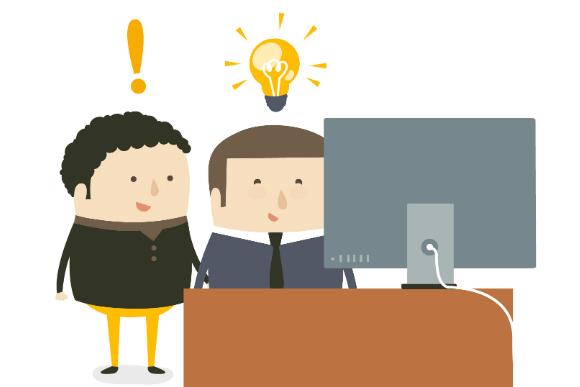 Ilustração de profissionais esclarecendo dúvidas em frente ao computador, referindo-se ao tema do texto que explica porque o Dynamics AX é o melhor ERP.