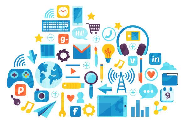 Diversos ícones relacionados à tecnologia e globalização, como tablet, logo do Facebook, etc, formando uma nuvem. A imagem representa o texto que fala sobre o ambiente de nuvem e como funciona a implantação de ERP nesse formato.