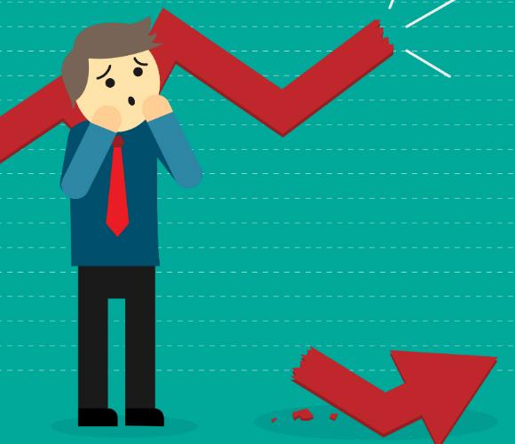 Ilustração de homem de negócios com expressão de preocupação com uma linha de gráfico quebrada e a sua ponta no chão, referendo-se às consequencias financeiras para uma empresa ao utilizar um ERP mal implanta, como o Microsoft Dynamics AX, por exemplo.