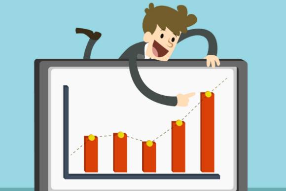 Ilustração de homem de negócios apontando para gráfico de crescimento da empresa, representando o tema do texto que fala sobre os benefícios da gestão de metas para os resultados das empresas.