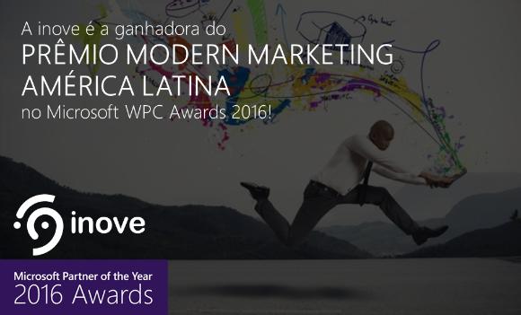 imagem ilustrando a conquista do prêmio de Modern Marketing que a inove, parceira Microsoft, conquistou