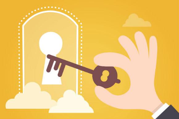 Ilustração de chave e fechadura, representando o tema do texto que fala sobre a importância de usuários-chave ao implantar um ERP.